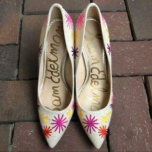 Sam Edelman embroidered heels